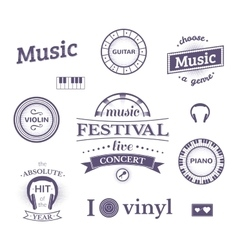 Music labels and logos vector