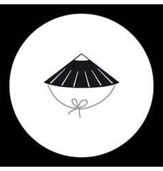 One black simple isolated japan style hat eps10 vector