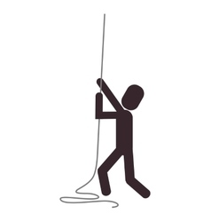 person climbing rope icon vector image