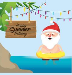 Santa claus in the summer holiday vacation vector