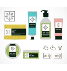 Set of natural cosmetics design packaging icons vector image vector image