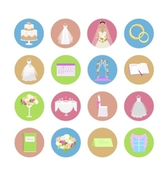 Set of wedding icons in flat design vector