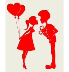 Silhouette couple in love vector