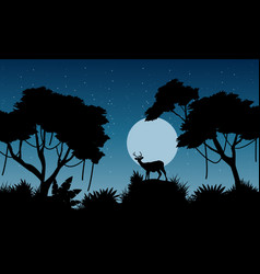 silhouette of deer on the jungle landscape vector image vector image