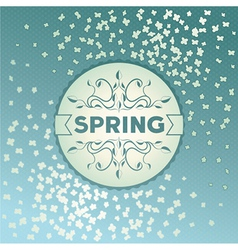 Spring label design with flowers vector