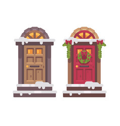 Two winter doors christmas decorated porch vector