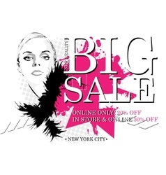 woman with sale sign vector image
