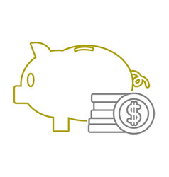 Yellow line piggy to save money and coins cash vector