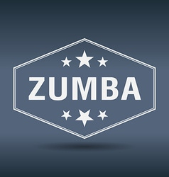 Zumba hexagonal white vintage retro style label vector
