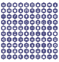 100 bakery icons hexagon purple vector