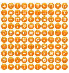 100 karaoke icons set orange vector