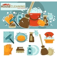 Set of cleaning service symbols vector