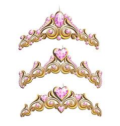 Vintage jewelry diadems set vector