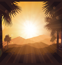 tropical landscape at sunset vector image