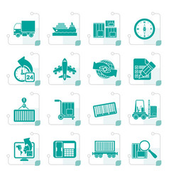 stylized shipping and logistics icons vector image