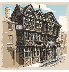 Vintage view of feathers hotel at ludlow in vector