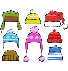 set of winter hats vector image