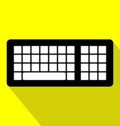 Computer keyboard flat design icon with long vector