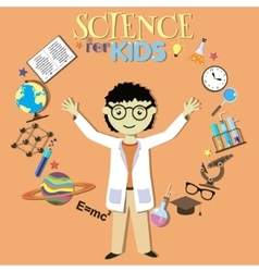 Science for kids Cartoon scientist collection of vector image