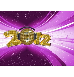 sparkling gold disco ball and headphones on a 2012 vector image