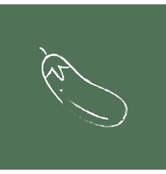 Eggplant icon drawn in chalk vector