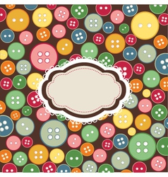 Vintage frame sewing buttons vector
