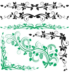 Plant decoration and corners vector