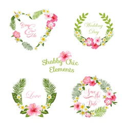 Tropical leaves and flowers banners and tags vector