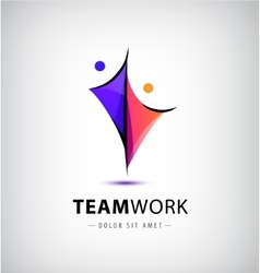 Abstract stylized family of 2 team lead vector