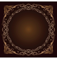 Vintage radial ornament over brown vector