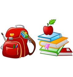 Bag with stack of book and apple vector