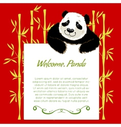 Big cartoon panda with board for your text vector