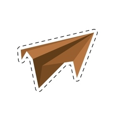 brown paper plane project start up cut line vector image