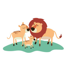 cartoon lions couple and cub over grass in vector image vector image