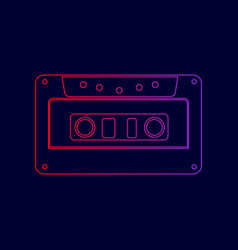 Cassette icon audio tape sign line icon vector