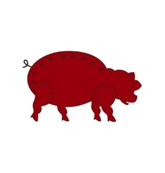 Chinese zodiac symbol red pig vector