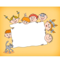 Doodle kids holding blank sign vector