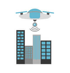 drone flying technology with cityscape vector image
