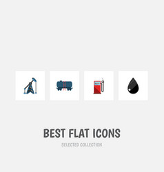 Flat icon petrol set of droplet petrol rig and vector