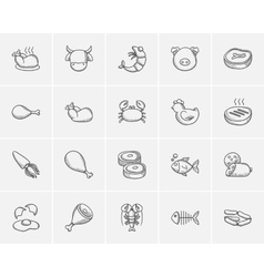 Food and drink sketch icon set vector image