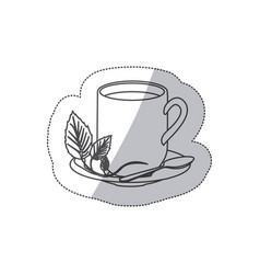 grayscale contour sticker of hot mug of tea vector image vector image