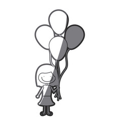 Grayscale silhouette of caricature of smiling girl vector
