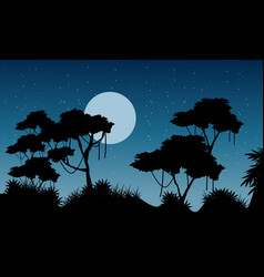 jungle scenery at night silhouette vector image
