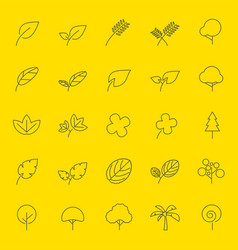 Leaf and tree line icons vector
