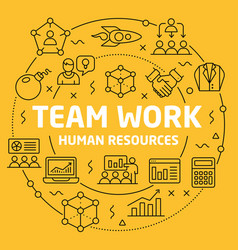 linear team work vector image