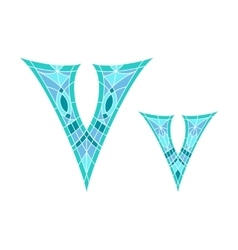 Low poly letter v in blue mosaic polygon vector