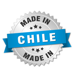 Made in chile silver badge with blue ribbon vector