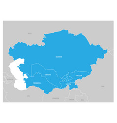 Map of central asia region with blue highlighted vector