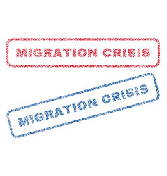 Migration crisis textile stamps vector