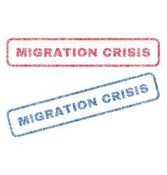 Migration crisis textile stamps vector